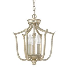 Features:  -Bailey collection.  -Bulb type: 60 Watt Candelabra bulb.  Fixture Type: -Foyer pendant.  Style: -Contemporary.  Finish: -Winter gold.  Number of Lights: -3.  Voltage: -120 Volts. Dimension