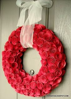 Paper Rose Wreath for Valentines