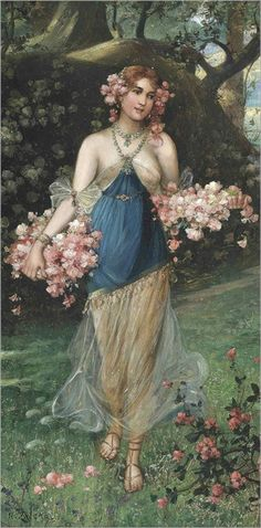 ⊰ Posing with Posies ⊱ paintings of women and flowers - The Maidens of Spring | Hans Zatzka (Austrian,1859-1945)