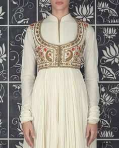 Cream Crinkled Anarkali Suit with Embroidered Jacket - Apparel