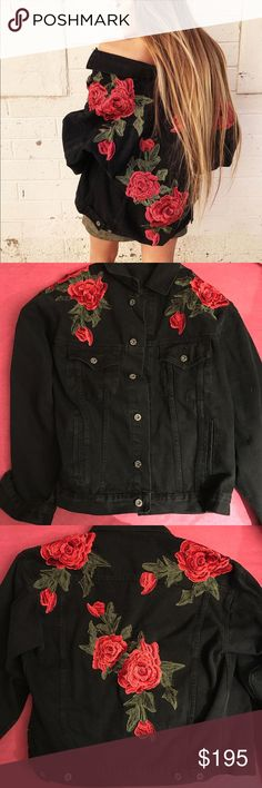 LF CARMAR BLACK DENIM RED ROSE EMBROIDERED JACKET Bought a few months ago, but it's been sitting in my closet unworn, and in perfect condition. It is marked as a small but it is very oversized so it can definitely fit a bigger size. I absolutely love this jacket and it's going to be hard to part with  LF Jackets & Coats Jean Jackets