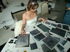 Namie Amuro.  Picking out T-shirt designs.  Adorbs!