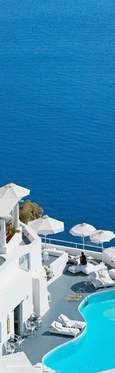 Katikies Hotels in Santorini.ah Santorini I will visit you one day! Katikies Hotel Santorini, Santorini Hotels, Santorini Greece, Santorini Island, Places Around The World, Oh The Places You'll Go, Places To Travel, Places To Visit, Around The Worlds