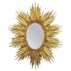 Large 1940s Carved Giltwood Hollywood Regency Sunburst or Starburst Oval Mirror 1