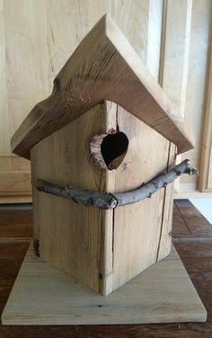 Rustic weathered barnwood birdhouse