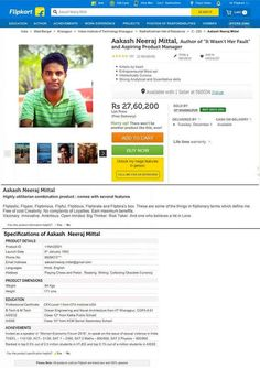 The unique resumé he designed looks like a Flipkart ad, where he was literally ~selling himself~ to the company.