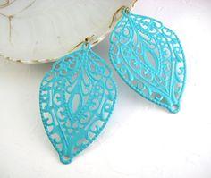 Turquoise Filigree Earrings  Hand painted Filigree by ShadedRose