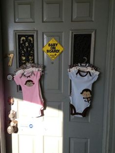 Decor on my front door for gender reveal family event