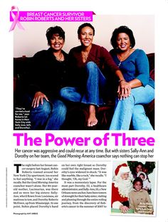 Sister Study Breast Cancer Research. Breast Cancer Survivor Robin Roberts and Her Sisters the Power of Three - Cancer, Robin Roberts : People.com. #page1 #publicrelations #mediacoverage