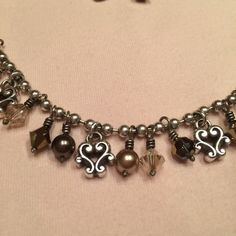 """Brighton Necklace Pewter, brown and clear beads; 16-18"""" chain. Worn a few times, excellent condition. Matching earrings also available. Brighton Jewelry Necklaces"""