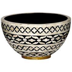 Mela Artisans, Dinnerware, Black and White, Imperial Beauty Decorative Bowl, Large