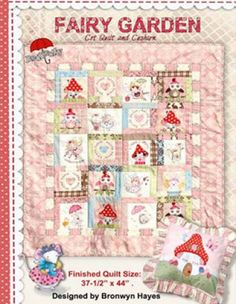 """Red Brolly's Fairy Garden Quilt ~ a stunning quilt for any little girl's room!  Finished size:  37 1/2"""" x 44"""".  Includes a pattern for a matching Fairy Toadstool House Cushion."""