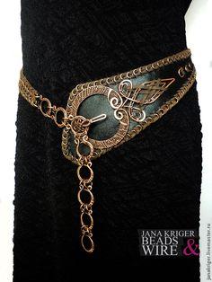 Купить Пояс - чёрный, wire wrap, wire work, handmade, пояс, пояс женский