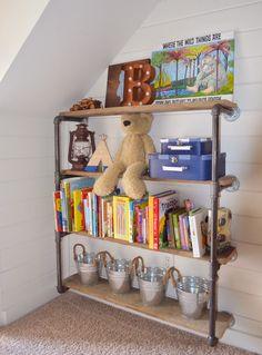 DIY rustic-industrial bookshelf in our latest nursery reveal!