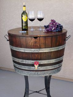 I think I need this wine barrel ice chest to go with my other wine barrel decor (wine barrel bar, table and dog bed)-- I wonder when it starts to be too much...