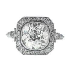 Art Deco Style Diamond Engagement Ring with Halo - Estate Diamond Ring