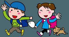 行ってきます! 明るく出かける小学生 慌てて飛び出すパパ、女子高校生 赤ちゃん おばあちゃんのイラスト   ゴゴンのイラスト素材KAN