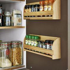 Handmade oak spice racks for cupboard doors