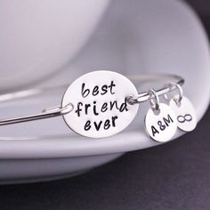 Best Friend Bracelet Personalized Best Friends Bangle Bracelet, BFF gift by georgiedesigns