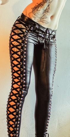 TOXIC VISION BLACK WIDOW STUDDED LACE UP PANTS http://www.facebook.com/toxicvisionclothing