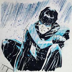 Nightwing - Mike Henderson - Visit to grab an amazing super hero shirt now on sale! Nightwing And Batgirl, Batwoman, Batman Family, Batman And Superman, Comic Book Artists, Comic Artist, Super Hero Shirts, Arte Dc Comics, Batman Begins
