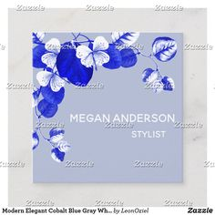 Shop Modern Elegant Cobalt Blue Gray White Chic Floral Square Business Card created by LeonOziel. Cobalt Blue, Blue Grey, Gray, White Chic, Business Cards, Party Favors, Card Stock, Create Your Own, Stationery