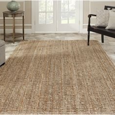 Safavieh Casual Natural Fiber Hand-Woven Natural Accents Chunky Thick Jute Rug (6' Square), Brown, Size 6'