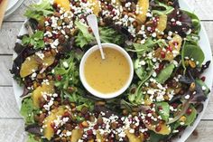 Healthy Dinner Recipes Discover Christmas Salad with Citrus-Champagne Vinaigrette - Two Healthy Kitchens This easy beautiful Christmas salad can even be served as a wreath! Pistachios pomegranate oranges and goat cheese with a light champagne vinaigrette. Christmas Salad Recipes, Christmas Appetizers, Holiday Recipes, Christmas Menu Ideas, Christmas Snacks, Recipes Dinner, Dinner Ideas, Diner Recipes, Winter Christmas