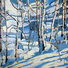 """Jennifer Irvine, Trees in Snow, Meribel, 30"""" x 30"""", oil"""