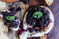 Grilled Brie with Blackberry Basil Smash Salsa + Grilled Bread