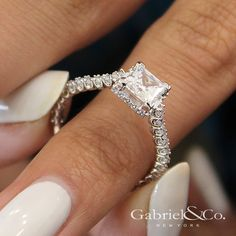 Gabriel & Co. - Voted #1 Most Preferred Bridal Brand.   A simply, breathtaking straight princess cut engagement ring.