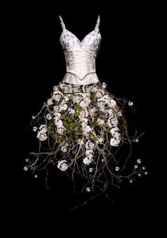 Todd Murphy wonderful fairy dresses made from flowers and foliage...mixed media couture created for fairies and eives to wear for thousands of years ...wonderful idea for wedding dress,costume ,ball dress tutu or fantasy feastival outfit