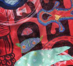 Eileen McGarvey - embroidered Trader Joe's bag (work in progress)