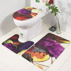 Want to make your toilet more clean and out of the ordinary? This toilet decorative mats set will be an excellent choice. The non-slip bottom is made for safe use in bathroom. 1 x Pedestal rug 1 x Toilet lid cover 1 x Bath mat. African Girl, African Women, Girls Rugs, Bathroom Mat Sets, Toilet Mat, Wet Floor, Bath Girls, Velvet Fashion