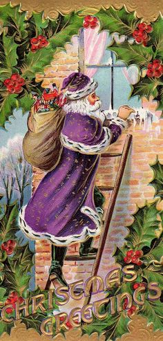 Vintage Santa in Purple