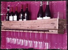 Pallet wijnglazen rek Diy Kitchen, Wine Rack, Gadgets, Storage, Interior Ideas, Creative, House, Decoration, Home Decor