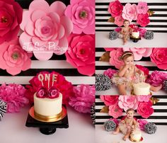 Two sisters Photography// cake smash sessions, pink floral cake smash, pink and black, black and white stripes, floral cake smash, paper flowers