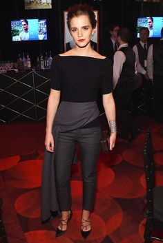 Emma Watson at Time Magazine's 100 Gala wearing Tom Ford and stripy black pumps.