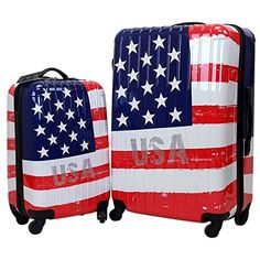 Swiss Case 28 USA FLAG 4 Wheel Hard Suitcase  FREE Carryon 20 luggage set * Click image to review more details.
