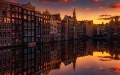 Indir duvar kağıdı Amsterdam, Gün batımı, kanallar, sokak, akşam, şehir, Hollanda, Avrupa