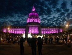 """San Francisco city hall is """"dressed"""" in purple to honor #Prince. Prince, who defined the sound of the '80s with songs such as """"Kiss"""" and """"Purple Rain"""" and defied the music industry in a fight for creative freedom, died Thursday. #RIPPrince (Photo credit: City of San Francisco) #sanfrancisco #purplerain"""