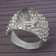 GREEN AMETHYST CHEKAR 925 STERLING SILVER RING JEWELLERY 6.87g DJR3806 #Handmade #Ring