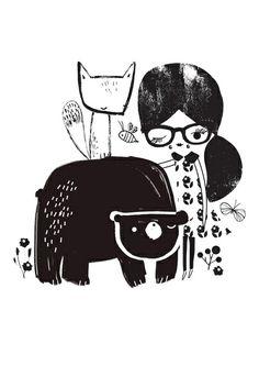 Girl and Bear Art Print #illustration