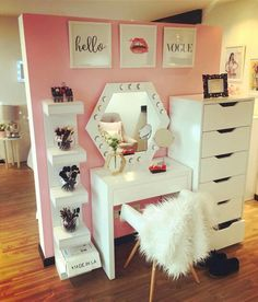 Makeup Room Ideas room DIY (Makeup room decor) Makeup Storage Ideas For Small Space - Tags: makeup room ideas, makeup room decor, makeup room furniture, makeup room design Picture of bible verses instead. Diy Vanity Mirror, Vanity Room, Vanity Ideas, Mirror Ideas, Ikea Vanity, Pink Vanity, White Vanity, Wall Mirror, Lighted Mirror