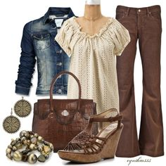 """Eyelet Blouse"" by cynthia335 on Polyvore    Brown pants outfit"