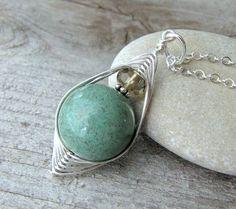 Seafoam Green Agate Smokey Quartz Herringbone Silver Necklace