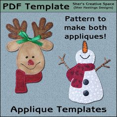 Happy Snowman & Reindeer Applique Templates by ShersPatternShop Halloween Applique, Christmas Applique, Christmas Sewing, Christmas Crafts, Christmas Ornaments, Christmas Ideas, Christmas Aprons, Christmas Decorations, Christmas Embroidery