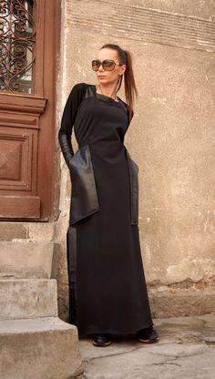 New 2016 Summer Maxi Dress / Black Kaftan Cotton Dress /Leather Side Pockets Dress /Extravagant Short Sleeves Dress / Daywear Dress A03374