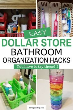 Looking to organize your bathroom on a budget? Here is what to buy at the Dollar Tree to organize any size space for cheap. You are going to love these easy DIY projects. If you are looking for simple dollar store hacks you have to check these out! Bathroom Sink Organization, Under Sink Organization, Diy Bathroom Decor, Organization Hacks, Bathroom Ideas, Organizing Life, Bathroom Hacks, Simple Bathroom, Organizing Ideas
