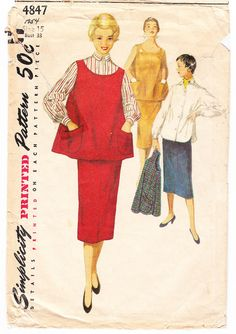 Vintage 1954 Simplicity 4847 Sewing Pattern by SewUniqueClassique, $12.00